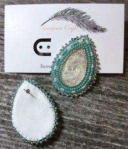 beaded turquoise & silver earrings