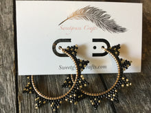 "2 "" inch black and gold beaded hoops"
