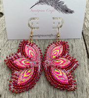 native beaded red earrings