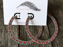 Turquoise & red large beaded hoop earrings
