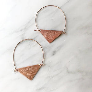 Copper Triangle Hoops