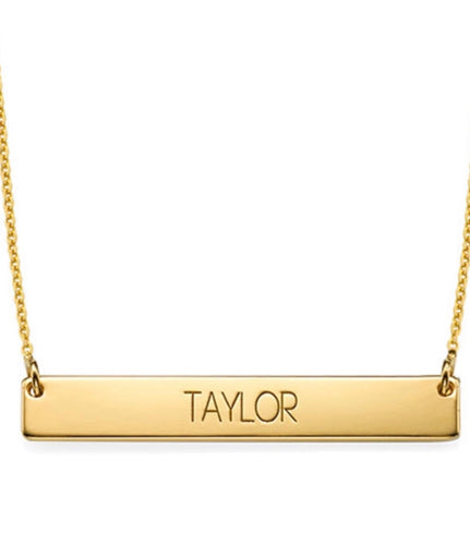 ALL CAPITAL BAR NECKLACE