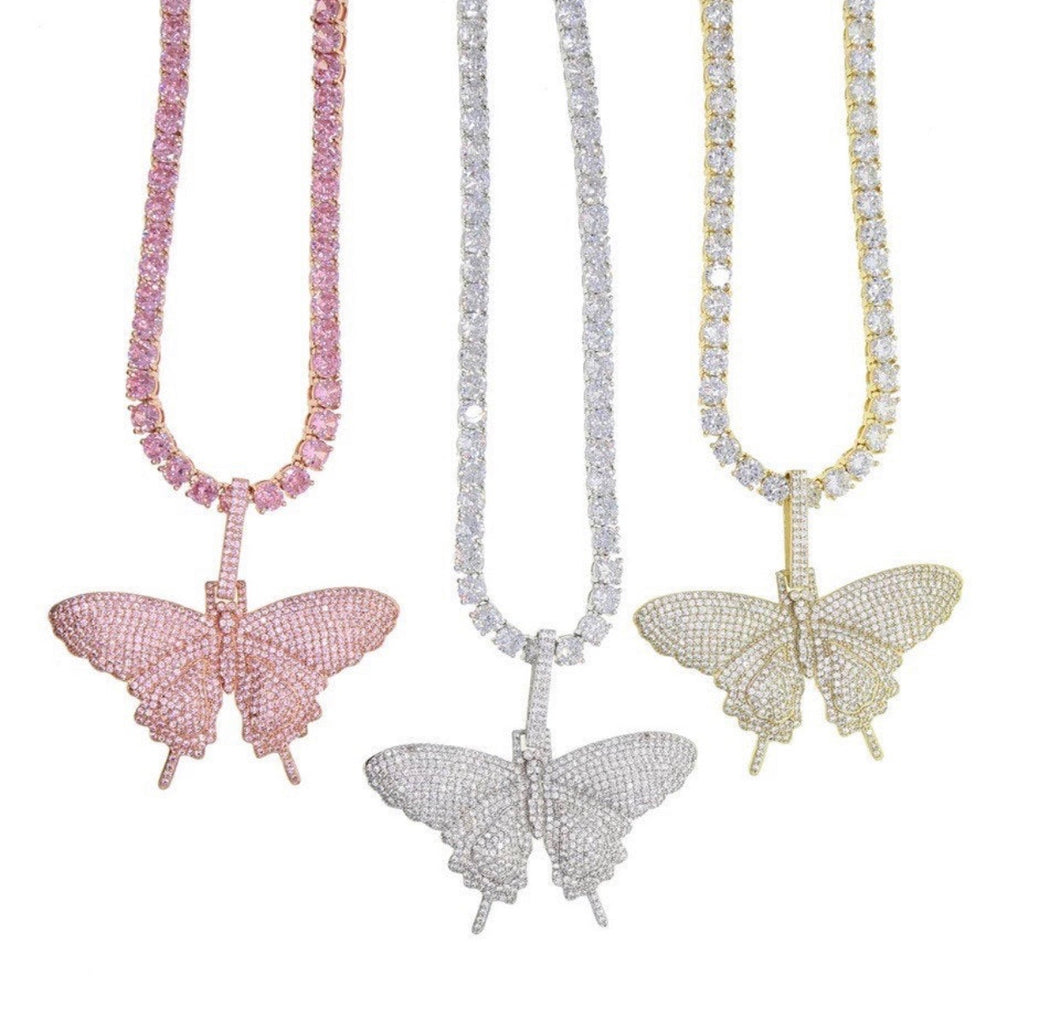 BIG BUTTERFLY TENNIS NECKLACE