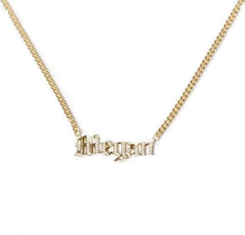 Pave Gothic Name Necklace