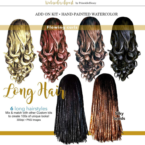 Hairstyles Long Add-On Kit - PrintableHenry