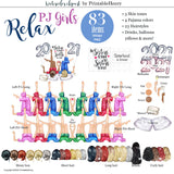 Relax PJ Girls Custom clipart kit - PrintableHenry