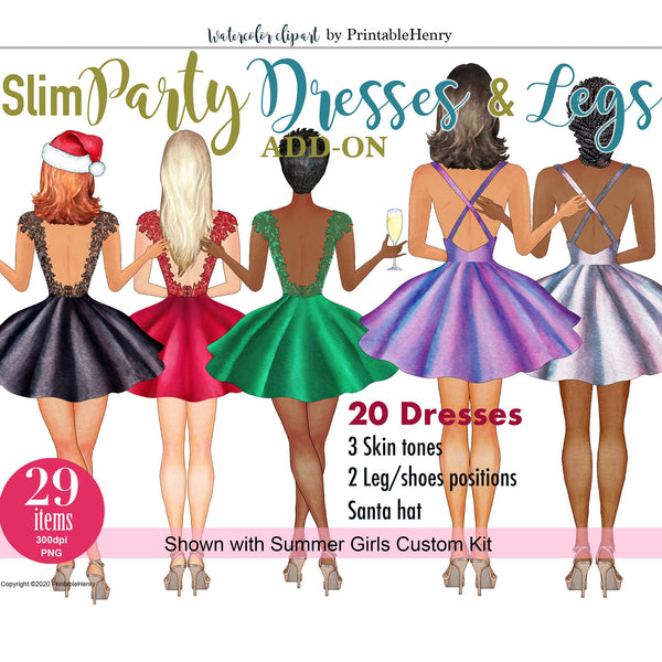 Slim Party Dresses Add-On kit - PrintableHenry
