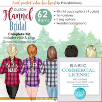 Flannel Bridal Custom clipart kit - PrintableHenry