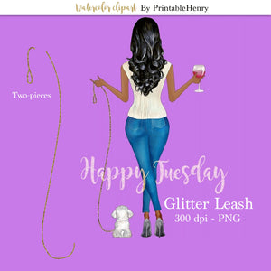 Glitter Pet Leash clipart
