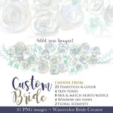 Custom Bride clipart kit - PrintableHenry