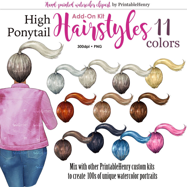 Hairstyles High Ponytail Add-on kit - PrintableHenry