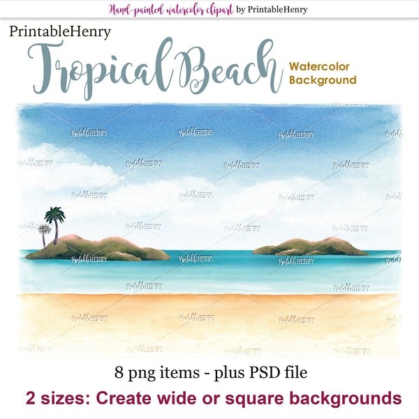 Tropical Beach background - PrintableHenry