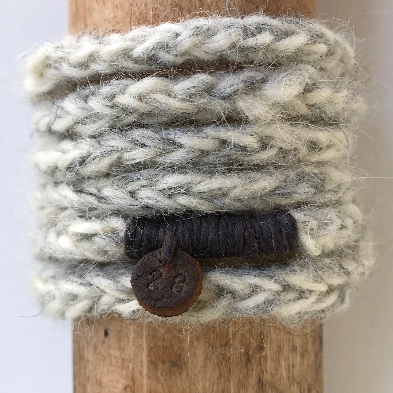 number 28 soft stone grey woollen wrist wrap