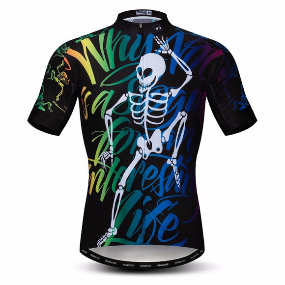 Skull Cycling Jersey men  Short Sleeve Mountain sportswear maillot Racing top