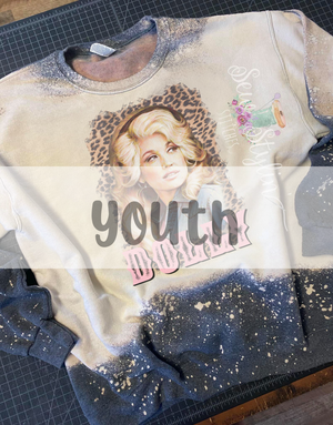 Youth Leopard Dolly Bleached Crewneck Sweatshirt