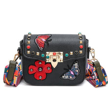 Faux Leather - Embroidered Wide Strap Bag - It's A Bags World - Fun Quirky Eccentric Bag