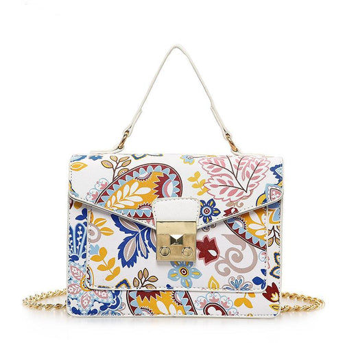 Faux Leather - Floral Chain Bag - It's A Bags World