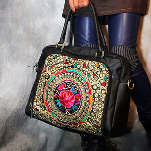 Genuine Leather - Handmade Embroidered Bag - It's A Bags World
