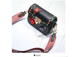 Faux Leather - Embroidered Wide Strap Bag - It's A Bags World