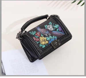 Genuine Leather - Embossed Bird Bag - It's A Bags World - Fun Quirky Eccentric Bag