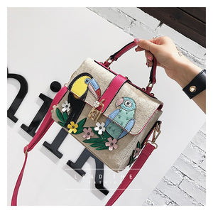 Woven Bag - Parrot Embroidered Bag - It's A Bags World - Fun Quirky Eccentric Bag