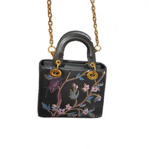 Embroidered Bag - Faux Leather Square Bag