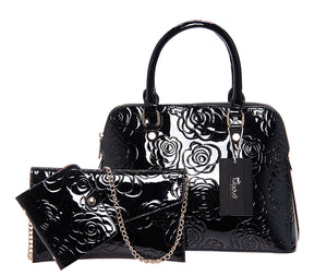 Faux Leather - Patent Floral Bag Set - It's A Bags World - Fun Quirky Eccentric Bag