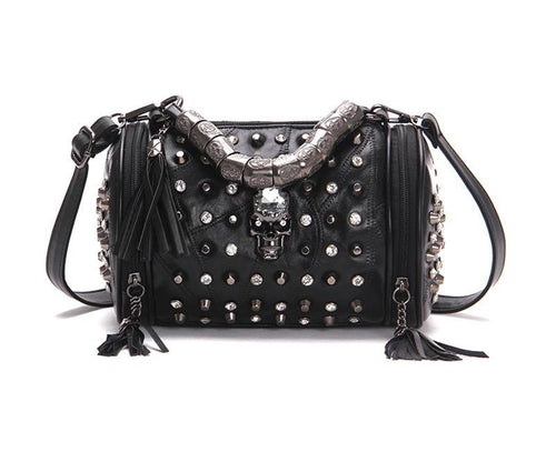 Genuine Leather - Gothic Skull Studded Bag - It's A Bags World