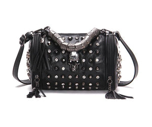 Genuine Leather - Gothic Skull Studded Bag - It's A Bags World - Fun Quirky Eccentric Bag