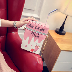 Faux Leather - Milk Carton Bag - It's A Bags World - Fun Quirky Eccentric Bag