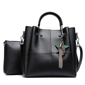 Faux Leather - 2-piece Tote Bag - It's A Bags World