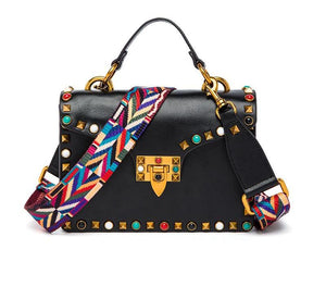 Genuine Leather - Studded Handbag - It's A Bags World - Fun Quirky Eccentric Bag