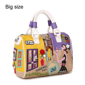 Embroidered Bag - Faux Leather Cartoon Bag - It's A Bags World - Fun Quirky Eccentric Bag