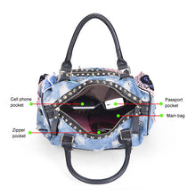 Embroidered Bag - Denim Distressed Studded Bag - It's A Bags World - Fun Quirky Eccentric Bag