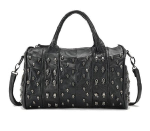 Genuine Leather - Skull Studded Duffle Bag - It's A Bags World