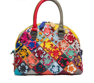 Genuine Leather - Floral Embroidered Bag - It's A Bags World