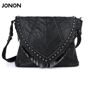 Genuine Leather - Studded Tassel Bag - It's A Bags World - Fun Quirky Eccentric Bag