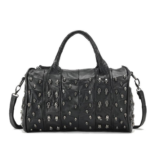 Genuine Sheepskin Leather - Skull Studded Shoulder Bag - It's A Bags World - Fun Quirky Eccentric Bag