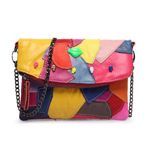 Cow Split Leather - Patchwork Skull Studded Bag - It's A Bags World - Fun Quirky Eccentric Bag