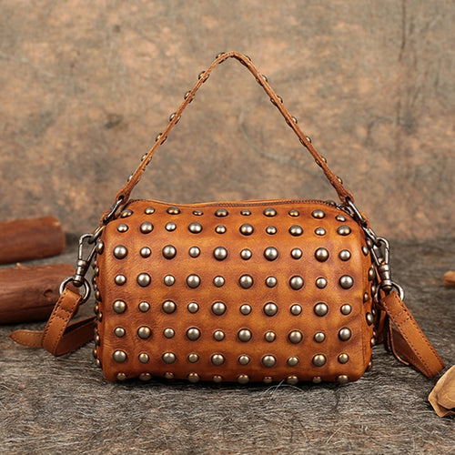Genuine Cowhide Leather - Handmade Studded Shoulder Bag - It's A Bags World - Fun Quirky Eccentric Bag