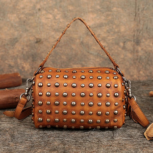Genuine Leather - Studded Messenger Bag - It's A Bags World - Fun Quirky Eccentric Bag