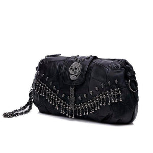 Genuine Sheepskin Leather - Skull Studded Messenger Bag - It's A Bags World - Fun Quirky Eccentric Bag