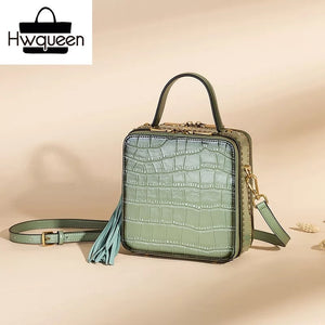 Genuine Leather Crocodile Pattern - Mini Box Bag - It's A Bags World - Fun Quirky Eccentric Bag
