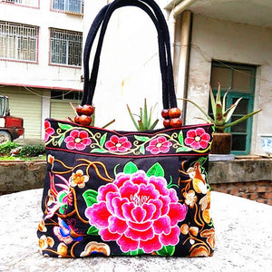 Embroidery Ethnic Canvas Travel Shoulder Bag - It's A Bags World - Fun Quirky Eccentric Bag