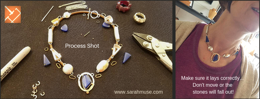 Process Image, Fitting for Heath Lee's Signature Necklace by Sarah EK Muse at Studio 12