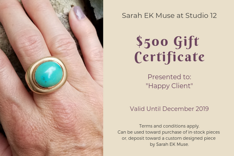 Studio 12 Design Blog-Of Life and Creativity-Sarah Ek Muse- Jeweler- Designer-Metalsmith-$500 Gift Card