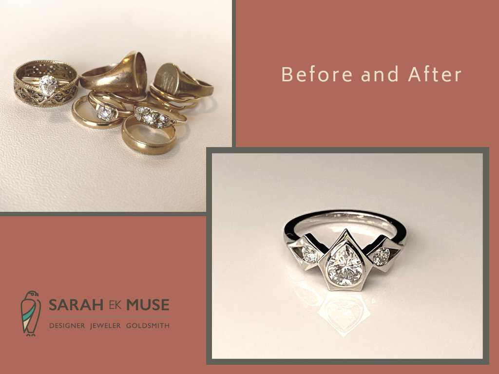 Jewelry before and after for a bespoke engagement ring.