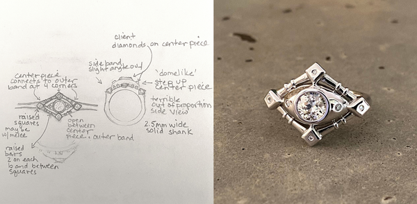 Bespoke Jewelry sketch to finished piece | Custom Jewelry Design Sketch | Diamond Ring | 14K White Palladium Gold | Virginia