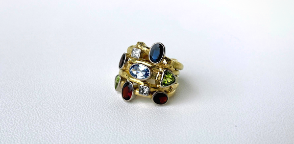 18K yellow gold bespoke ring by Sarah EK Muse | garnets, peridots, aquamarine, sapphire, diamonds ring | custom jewelry | jewelry redesign