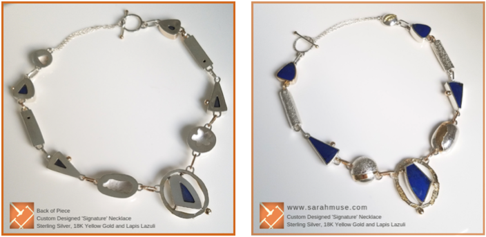 "Sterling Silver, 18k gold, Lapis ""Signature"" necklace for Heath Lee, author- by Sarah EK Muse at Studio 12-Studio 12 Design Blog"